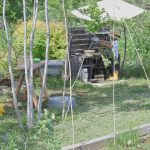 庭に作業台と小さいタープ