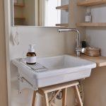 掃除しやすいシンプルな洗面台